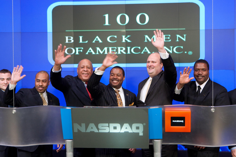 100 black men of america  inc  rings nasdaq stock market closing bell